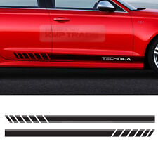 [TECHNICA] Sports Hood Side Black Line Decal Stickers&Chrome Logo for Universal