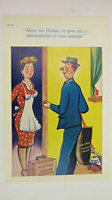 1950s Risque Comic Postcard Vacuum Cleaner Door To Door Salesman Kirby Hoover