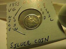 U.S. Dime 1853 1/2 Silver Coin VG+