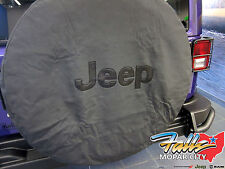 2007-2016 Jeep Wrangler Liberty Black Spare Tire Cover with Black Jeep Logo OEM