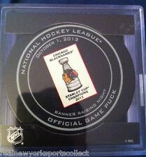 2013 CHICAGO BLACKHAWKS BANNER RAISING NIGHT GAME PUCK STANLEY CUP CHAMPS 10/1