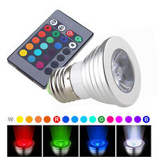 2× New E27 Color Changing 3W RGB LED Light Bulb Lamp 100-240V +IR Remote Control