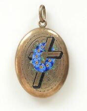 Antique Victorian 14K Rolled Gold Enamel Cross Etched Mourning Locket Pendant