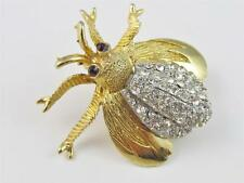 Vintage Signed HAR Rhinestone Insect Bug Fly Brooch Pin