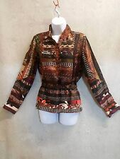 Etro Silk Blouse long slleeve Button Down Shirt italy 42 us 10