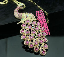 A202 Betsey Johnson Pink Crystal Big Peacock Pendant Sweater Chain Necklace