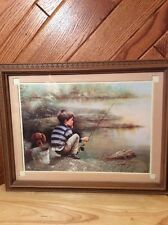 Home Interior ? Framed Picture Boy Fishing with his Dog