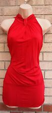WAREHOUSE RED LONG NECK ELEGANT FORMAL BLOUSE TUNIC TOP CAMI 14 L