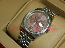 Rolex Datejust 36mm Stainless Steel White Gold Diamond Bezel Jubilee Pink 116244