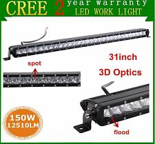 31inch 150W Single Row CREE LED Light Bar 3D Optical Off-road SUV RZR Jeep Lamp