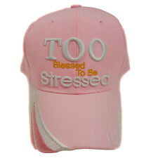 TOO BLESSED TO BE STRESSED Adjustable Baseball  (Pink) Hat Cap