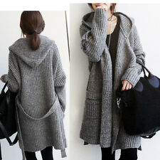 Lady Long Sleeve Loose Knitwear Cardigan Kitted Long Outwear Sweater Coat Gray