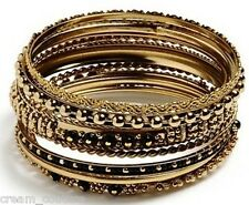 Amrita Singh Seema Black 10 Piece Bangle Set Size 8 NEW MSRP $75 PB124 18KGP
