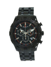 Elgin 1863 52104.B Men's Swiss Made Chronograph Date Black Stainless Steel Watch