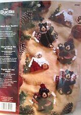 Bucilla BLACK BEAR BONFIRE Felt Christmas Ornaments Kit #85460 ~ Sealed