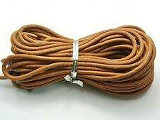 32.8 feet Natural Color Round Real Genuine Leather Jewelry Cord 3mm