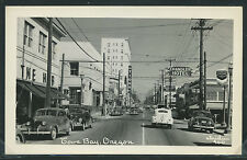 OR Coos Bay RPPC 40's STREET SCENE Chandler Hotel CHEVRON Cars Christian No.900