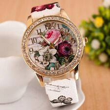 Ladies Women's Flower Dial Leather Stainless Steel Analog Quartz Wrist Watch