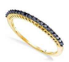 Nice! 100% 10K Yellow Gold Black Diamond Ring Anniversary Band .25ct Stackable