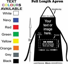 Full length black custom apron with your text and or photo on it.