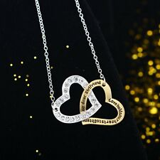 Valentine's day Gifts Engraving Heart Love Chain Pendant Necklace Jewelry