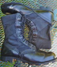 MENS 1997 US MILITARY BLACK LEATHER JUNGLE BOOTS RO SEARCH PanamaSole Laces 12.5