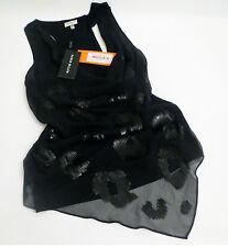 BNWT Exquisite KAREN MILLEN Black SILK SEQUIN TOP T-Shirt EU 38 / UK 10  RRP £80
