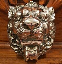 """NWOT CHINESE FOO DOG LION HEAD WALL HANGING Shiny Silver Chrome Color 6.5"""""""