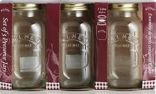 Kilner Set Of 3 1 Litre Glass Preserve Jam Storage Jars With Vacuum Lids