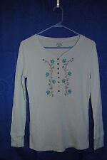 FALLS CREEK Light Blue Knit Top w Floral Embroidery Design Size M
