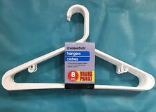 Bonus Value Pack 8 Ct Clothes Hangers White Tubular Ring Hook Adult & Teen
