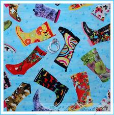 BonEful Fabric FQ Cotton Quilt VTG Rubber Rain BOOT Horse Camo Hippie LADY GIRL