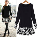 Double Layer Women Long Sleeve Floral Blouse Modern Party Mini Dress Top Tunic