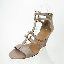 Women's NINE WEST Magdalena Strappy Wedge Sandals Taupe Leather Size 6.5 M NEW