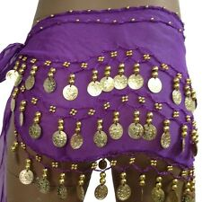 Belly Dance Hip Skirt Scarf Wrap Belt Hipscarf with Gold/Silver Coins Kids