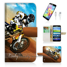 Samsung Galaxy S5 Print Flip Wallet Case Cover! Motocycle Bike P0043