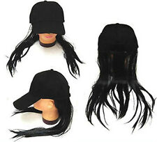BASEBALL CAP W LONG BLACK FAKE HAIR funny costume hat wig MEN WOMEN cap novelty