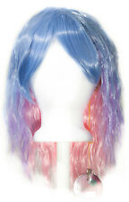 14'' Crimped Shoulder Length w/ Short Bangs Blue Purple Pink Cosplay Wig NEW