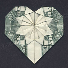 MONEY ORIGAMI HEART - Folding Instructions Included - Dollar Bill - Diagram Cash