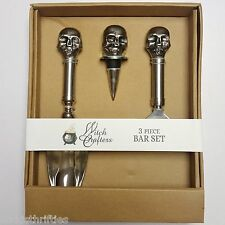 Witch Crafters 3 Piece Skull Theme Ice Scoop, Bottle Top & Bottle Opener Bar Set