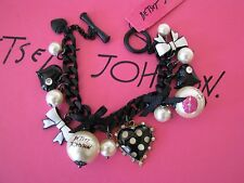 BETSEY JOHNSON FIRST DATE POLKA DOT HEART AND FAUX PEARL CHARM BRACELET~NWT~RARE