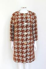 Pinko Houndstooth Orange Grey Wool Coat UK 12