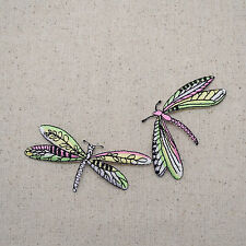 Iron On Embroidered Applique Patch Two Lime Pink Dragonfly Dragonflies