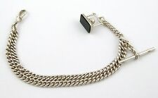 Antique Graduating Sterling Silver Pocket Watch Fob Chain 1896 Hard Stone LAYBY