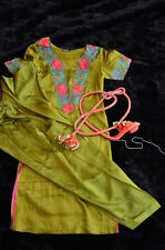 100% Silk Pakistani Indian Shalwar Kameez Embroidered Green Pink XS-S New 3 pc