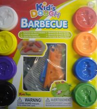 Kids Play Dough Moulding Barbecue BBQ Modelling Set 8 Tubs, Cutters & Utensils