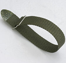 Khaki green tropical braided nylon 18mm vintage watch band 1960s silver buckle