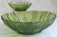 Vintage Chip and Dip Set Anchor Hocking Avocado Green Glass Country Estate