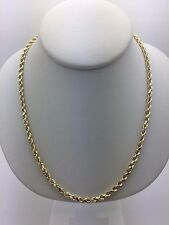 "New 14K Yellow Gold 18"" Hollow Diamond Cut Rope Chain Necklace 5 grams 3 mm"