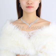 Nuptiale mariage strass cristal perle collier boucles d'oreilles bracelet bijoux set